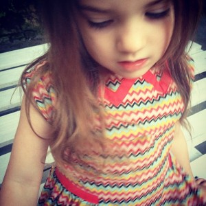 my girl wearing the zigzag dress
